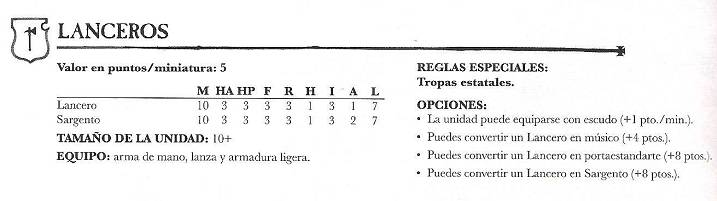lancero imperial- tabla referencial